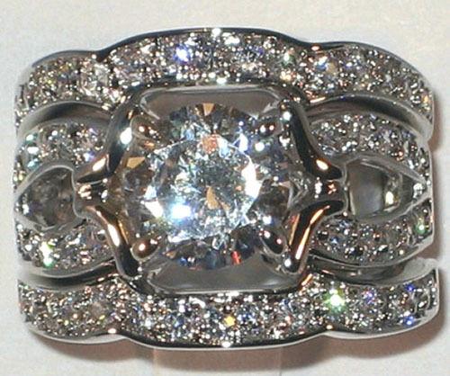 Majestic Antique 3.20 CT Cubic Zirconia Platinum Bridal Wedding Ring Set- SIZE 7
