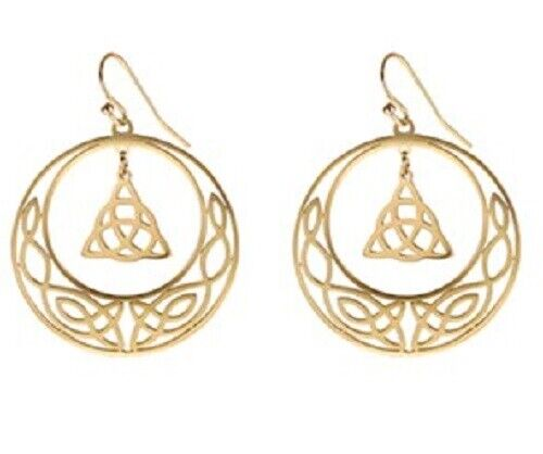 Gold STAINLESS STEEL CELTIC Knot Triquetra Crescent moon  Earrings