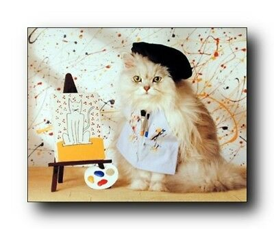 Cute Cat Kitten Painting Animal Kids Room Wall Decor Art Print Poster  16X20