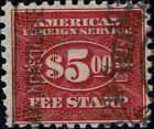 Carmine $5 US Revenue Stamps