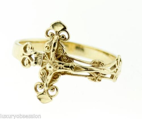 Gold Crucifix Ring Ebay