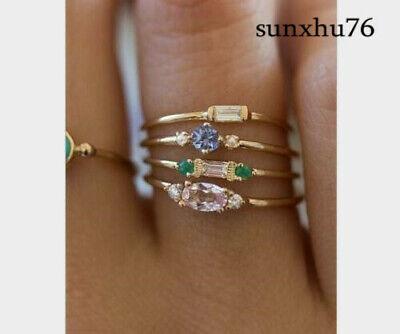 Fashion Bohemian Boho Women Wedding Gemstone Gem Bridal Ring Set Wholesale Bridal Ring Set Gems