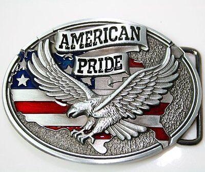 American Pride Eagle USA Flag Pewter Belt Buckle Patriot US