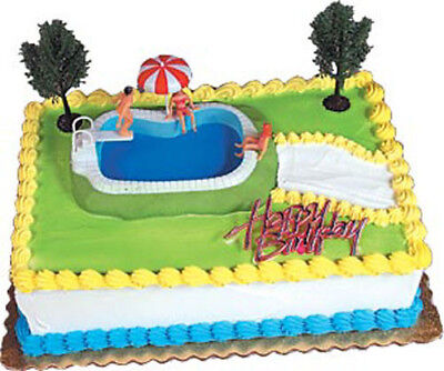 Swimming Pool Party (Swimming Pool Cake Decorating Kit Decoration Topper Birthday Party)