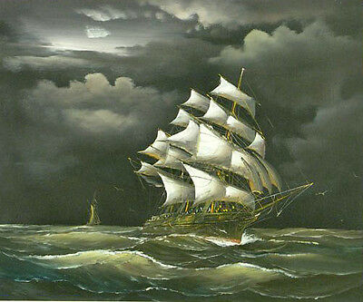 Oil painting seascape big sail boat on ocean with waves in sunset storm 36""