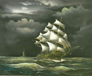 Oil-painting-seascape-big-sail-boat-on-ocean-with-waves-in-sunset-storm-36