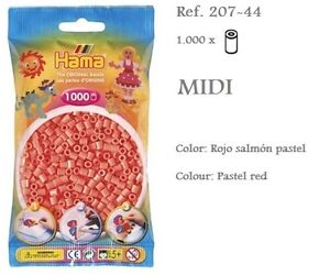 207-44-Hama-Beads-MIDI-1000x-Piezas-color-rojo-salmon-pastel-pastel-red-colour