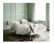 2x great condition Ikea white metal QUEEN size bed with mattress, Mont Albert Whitehorse Area Preview