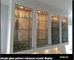 Kitchen Cabinet door inserts in Leaded & Stain glass