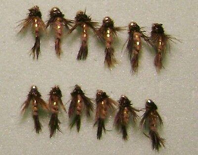 SIZES 1 DZ 14-5 BEAD HEAD BIRD/'S OF PREY OLIVE//TAN NYMPHS TROUT