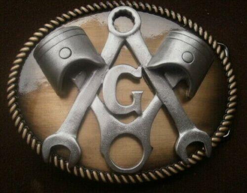 """masonic piston and wrench """"G""""  freemasons masonic belt buckle"""