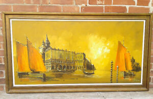 Mid Century Modern Oil on Board Painting, Framed