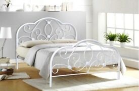 Alexis white metal French bed frame