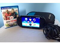 PS Vita, Excellent Condition! with FIFA Football game, carry case, wall charger & USB