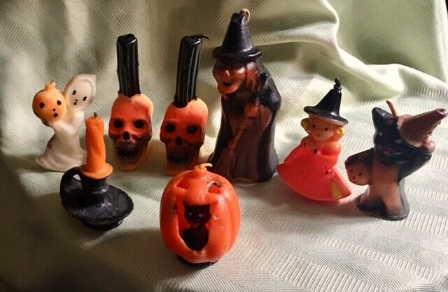 Vintage Gurley Halloween Candle Lot of 8 Unused 4 w/ Labels Skulls Witches JoL