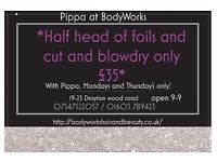 *special offer* half head of foils and cut and blow dry just £35, at BodyWorks Norwich!