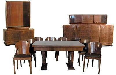 Art Deco Walnut & Burl 11-Pc. Dining Room Suite #1182