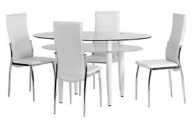 Glass Dining Table with 4 White Leather Chairs
