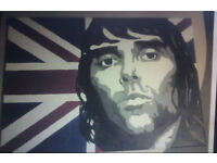 Large Hand Painted Ian Brown Stone Roses Union Jack Acrylic Art Canvas