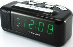 Timelink 88141 Green LED Loud Digital Alarm Clock w/ Snooze Button Black