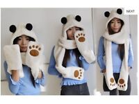 14 x Wholesale Job Lot Lovely Bear Shaped Hooded Scarf Hat Gloves