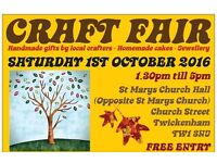 Saturday 1st October 2016 - TWICKENHAM CRAFT FAIRS - St Marys Church Hall, Twickenham - Handmade