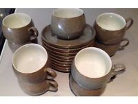 Denby Pampas Greystone 8 Cups, Saucers and Sugar Bowl