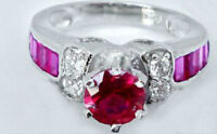 PINK RUBY & TOPAZ 925 SILVER ENGAGEMENT, PROMISE RING Sz7