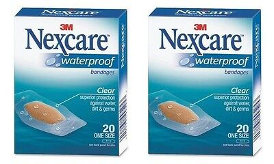 - 2 Pack - 3M Nexcare Waterproof Clear Bandages One Size 20 Each
