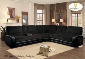 Black Fabric Sectional with Recliners on Sale (BD-2402)