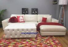 Extra LARGE GENUINE Leather White L Shape SOFA Chaise lounge Sydney Region Preview
