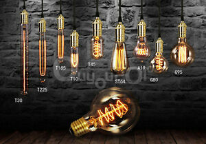 ampoule filament carbone 4 40 60w e27 b22 e14 incandescente vintage edison style ebay. Black Bedroom Furniture Sets. Home Design Ideas
