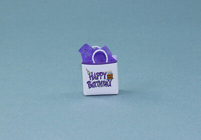 CUTE Dollhouse Miniature Happy Birthday Gift Bag with Tissue Paper #HCB6