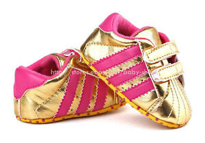 Newborn-Baby-Girl-Gold-Soft-Sole-Crib-Shoes-Sneakers-Size-0-6-Months