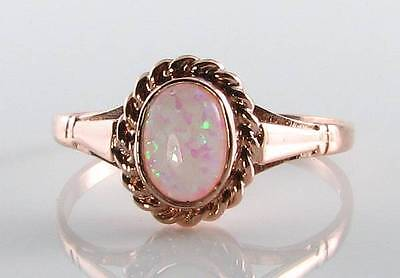 CLASSIC 9CT ROSE GOLD FIERY OPAL ART DECO VICTORIAN SOLITAIRE RING FREE RESIZE ()