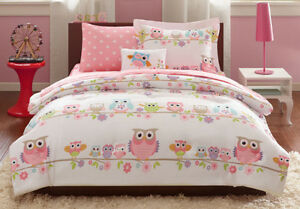 6 PC Pink Girls Twin Size Complete Bed W Sheets Set Kids Owl Pattern Bedding