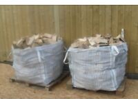 2x1ton bulk bags of dry seasoned hardwood firewood logs with free delivery and stacking £100