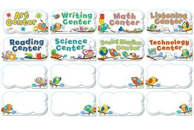 New! Cute Boho Birds 16 Piece Classroom Center Signs Mini Bulletin Board Set (Center Signs Mini Bulletin Board)