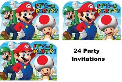 SUPER MARIO BROTHER Party Party Birthday Invitations Invite VideoGame Boy 24 PCS - Super Mario Birthday Invitations
