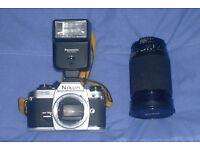 Nixon FG-20 camera body c/w Vivitar zoom lens and flash unit. (price drop)