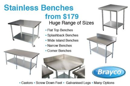 STAINLESS STEEL BENCHES FROM 179.00