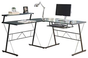 Glass L Desk