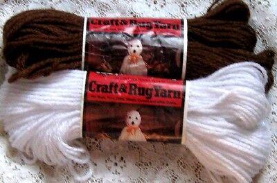Halloween Yarn Crafts (~ AUNT LYDIA  RUG CRAFT YARN HALLOWEEN GHOST PATTERN 2 SKEIN LOT BROWN & WHITE)