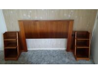 Wooden headboard and bedside shelf units (for double bed)