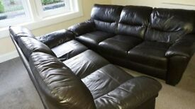HARVEYS LEATHER SOFAS 2 x 3 SEATERS GENUINE LEATHER SUITE COUCH