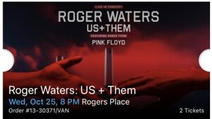 2 tickets for Roger Waters in Edmonton