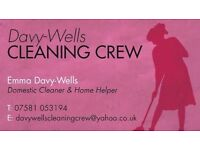 domestic house cleaner. No job to big or small. Crb checked and insured
