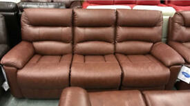 Brown real leather 3 & 2 seater sofas