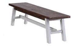 Besp-Oak Hampton's Rustic Pine and White painted bench