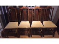 Beautiful 1940's barely twisted oak table and dinning chairs with carvers.